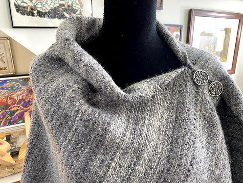 Natural Shetland with Silk Handwoven and Handspun Poncho