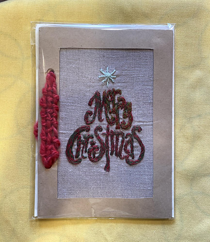 "Hand Embroidered Card - Merry Christmas Card (5""x7"")"