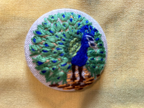 """Peacock Hand Embroidered Button - 1 7/8"""" round"""