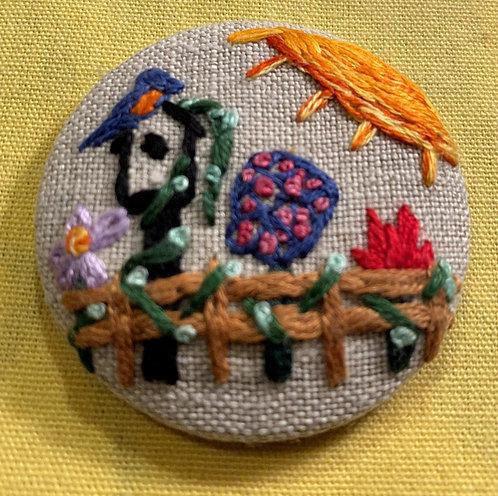 """Birdhouse Flower Garden Hand Embroidered Button - 1 7/8"""" round"""
