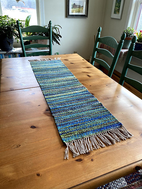 "Shades of Green, Brown and Blue Handwoven and Handspun Table Runner (43""x12"")"