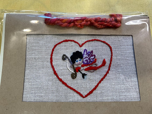 """Hand Embroidered Card - Cupid (5""""x7"""")"""