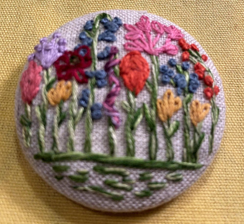 "Colorful Flowers Hand Embroidered Button - 1 7/8"" round"