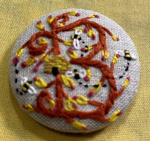 "Letter ""B"" Hand Embroidered Button - 1 7/8"" round"