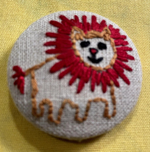 "Circus Lion Hand Embroidered Button - 1 7/8"" round"