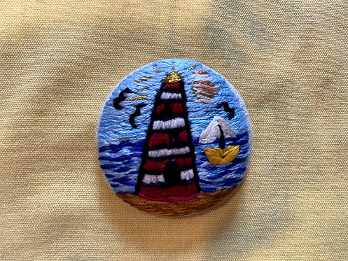 "Shining Lighthouse Hand Embroidered Button - 1 7/8"" round"