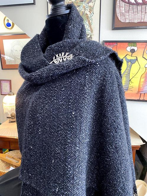 """Black Merino Wool and Silk Handwoven and Handspun Shawl (80""""x26"""")"""