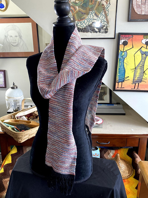 """Rose, Gray, and White Handwoven Chenille Scarf (72"""" x 6"""")"""