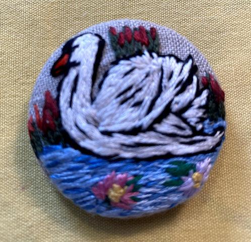 "Swan Hand Embroidered Button - 1 7/8"" round"