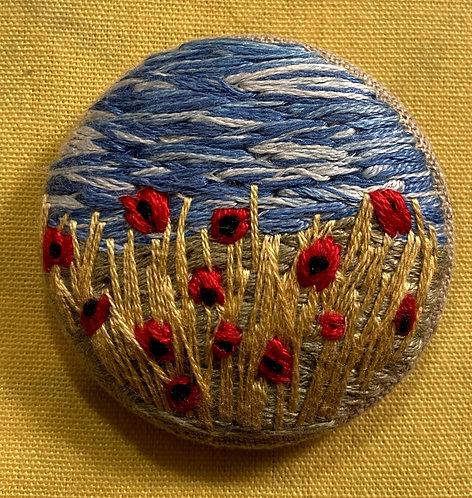 """Poppy Hand Embroidered Button - 1 7/8"""" round"""