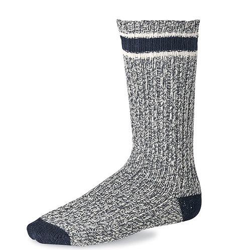 Striped Wool Ragg Crew Socks Slate/Navy 97330