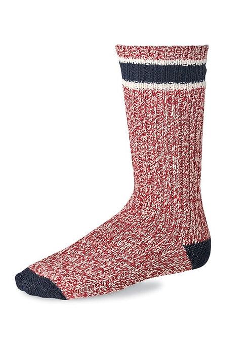 Striped Wool Ragg Crew Socks Red/Navy 97331
