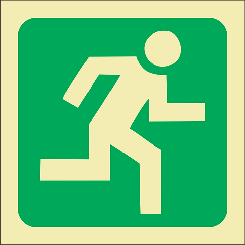 Safety Sign ABS Photoluminescent 150X150 mm S/S Unframed