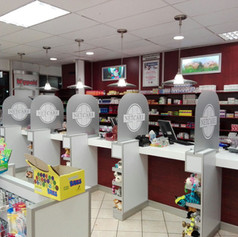 Indoor pharmacy divider glass signage