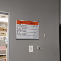 Dr.'s on duty In/Out board