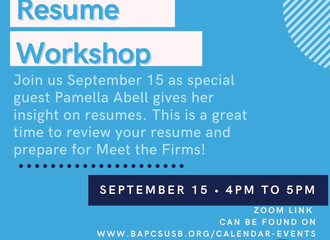 Resume Workshop September 15th!