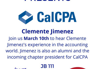 Join Beta Alpha Psi and Accounting Association to hear up coming CalCPA chapter president Clemente J