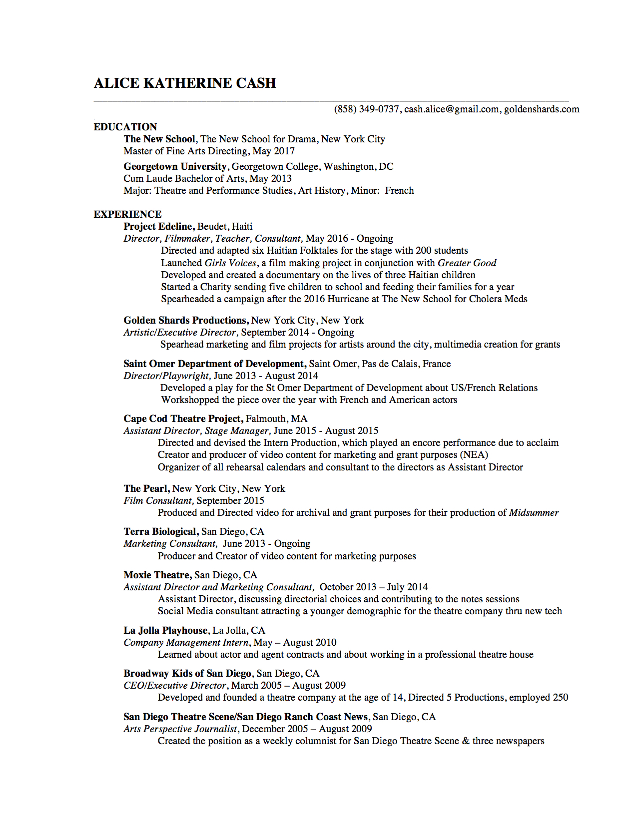 resumes for artists