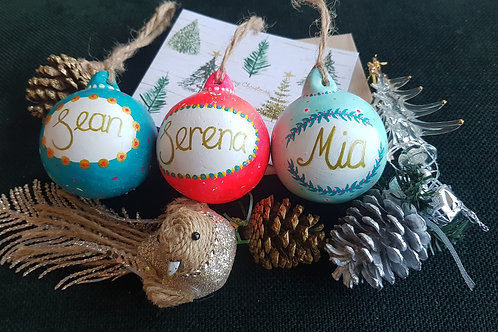 ART SIPPERS - CUSTOMISED CHRISTMAS BAUBLE SET X3