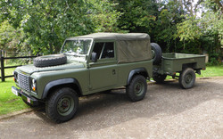 Ex Mod Land Rover 90 with Sankey Trailer