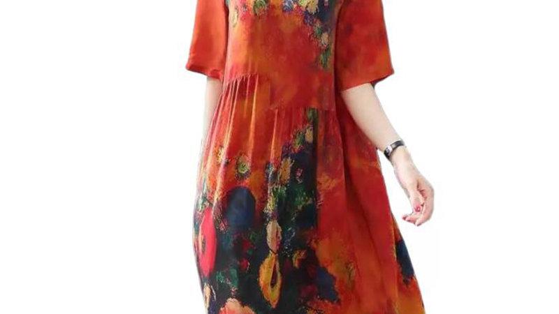 2019 New Arrival Women Silk Dress Female Summer Half Sleeve V-Neck Vintage