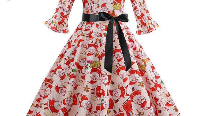 Print Vintage Christmas Dress Women Petal Sleeve Elegant Party Dresses