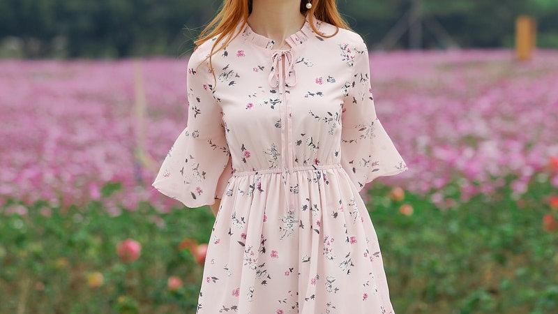 Foxmertor Summer Dress Printed Chiffon