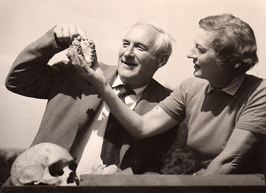 Louis and Mary Leakey examine the palate