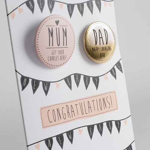 Congratulations New Baby Girl Badge Card