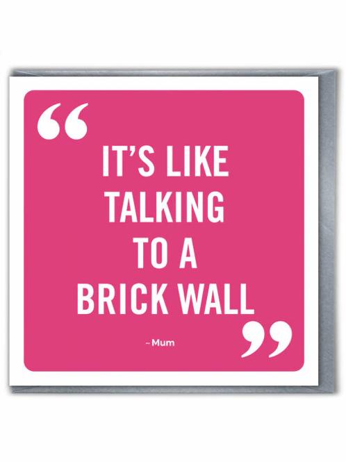 It's Like Talking To A Brick Wall