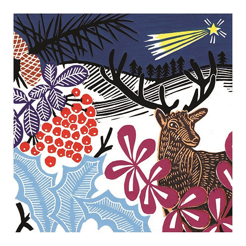 Lino Cut Deer And Pheasant