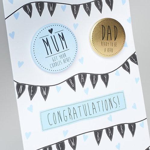 Congratulations New Baby Boy Badge Card