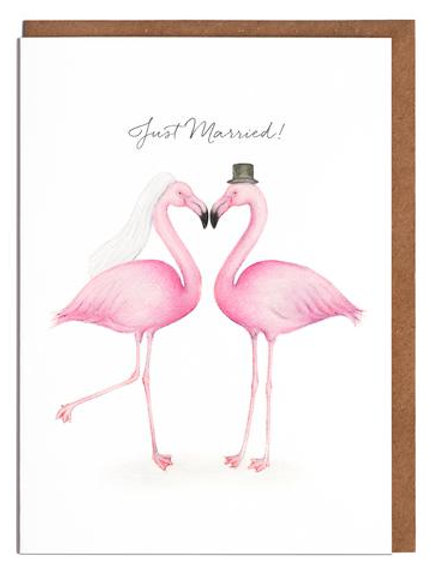 Just Married Flamingos