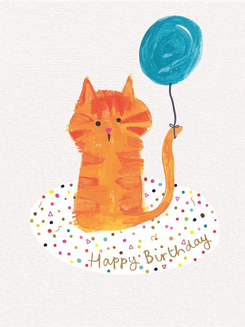 Happy Birthday Balloon Cat