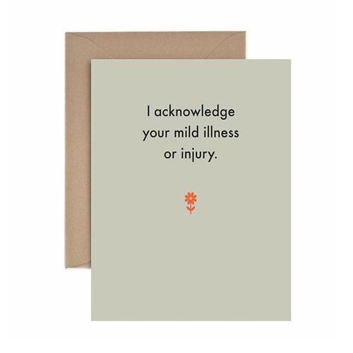 I Acknowledge Your Mild Illness Or Injury