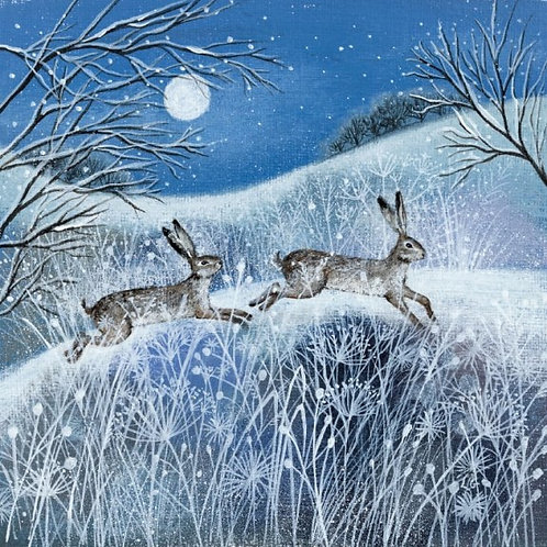 Moon Snow And Hares