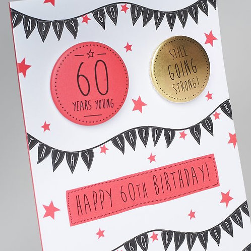 Happy 60th Birthday Badge Card