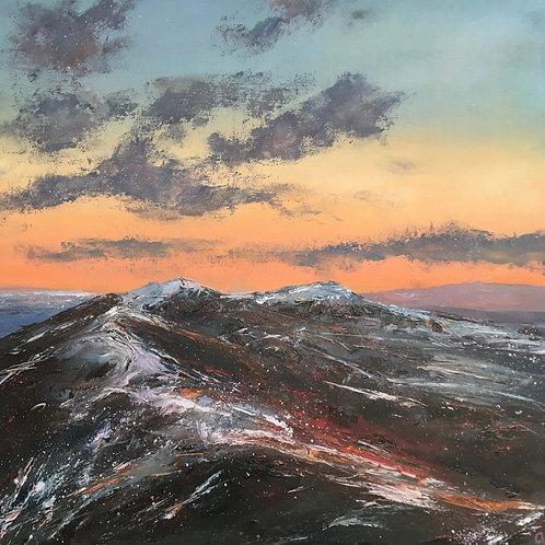 Malverns Snow & Sunset