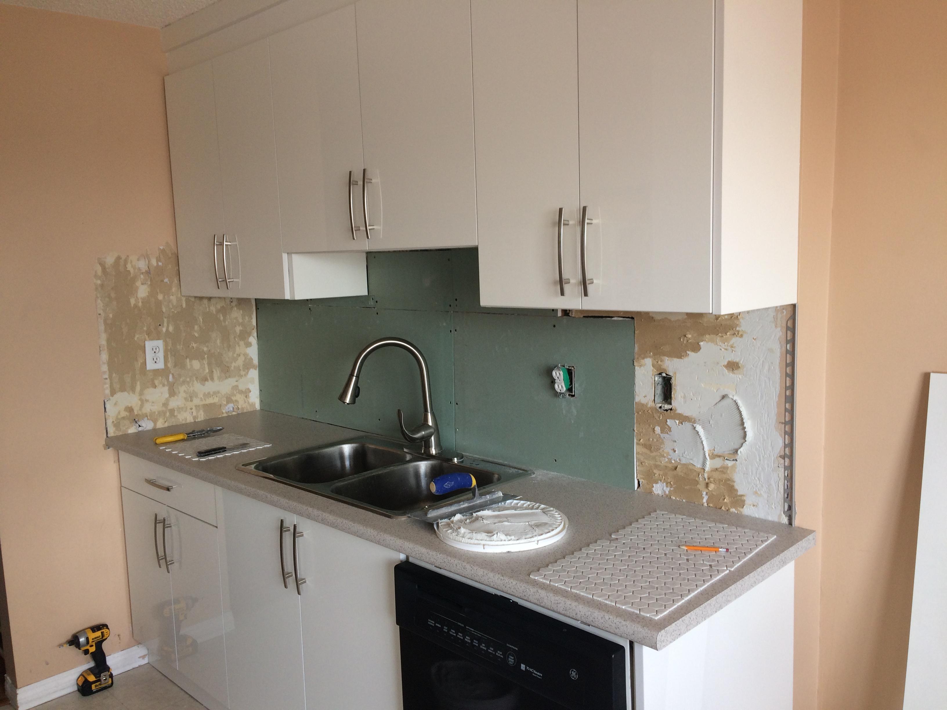 Kitchen splash replacement (during)