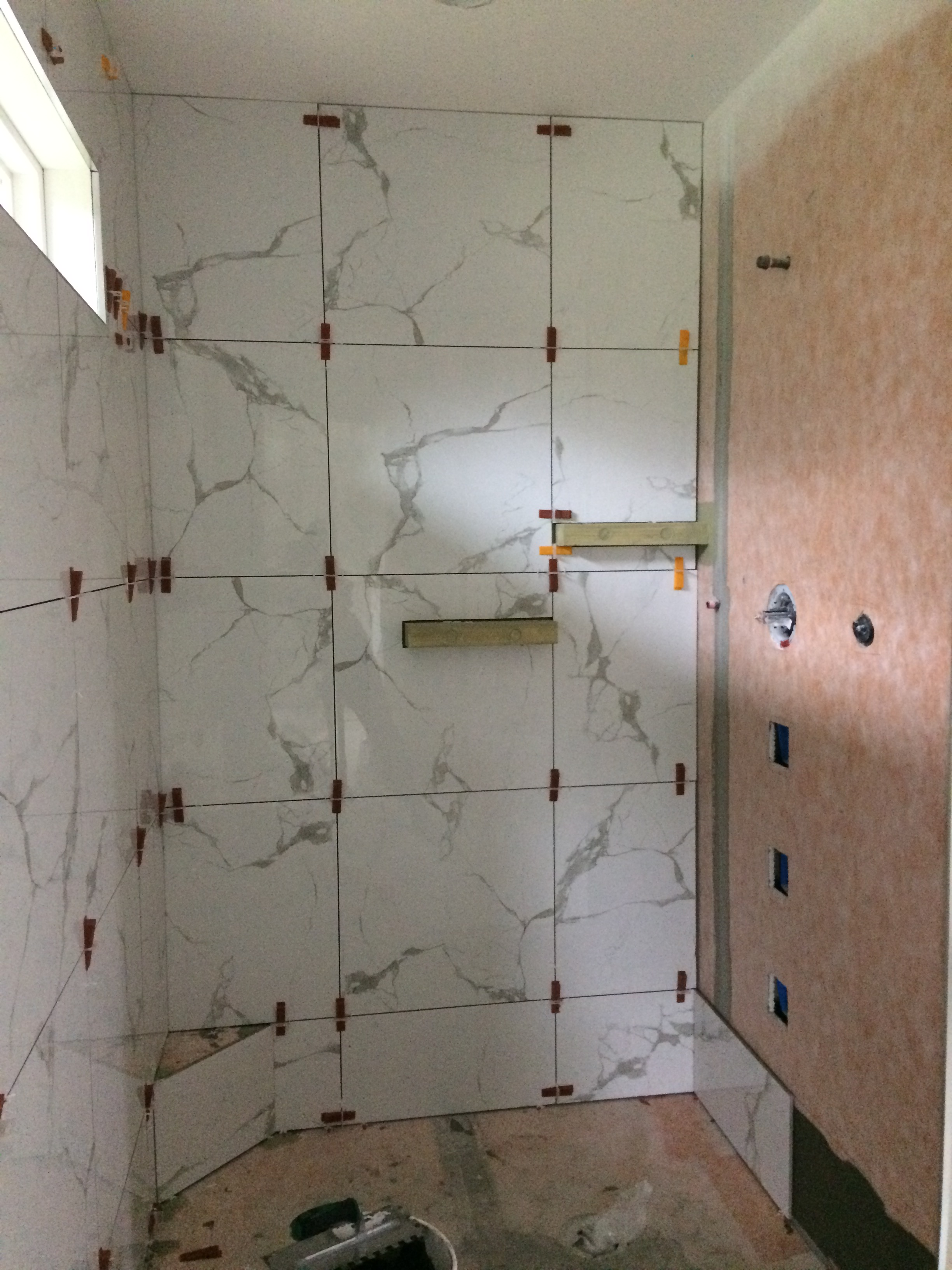 Custom shower L-shape (during)