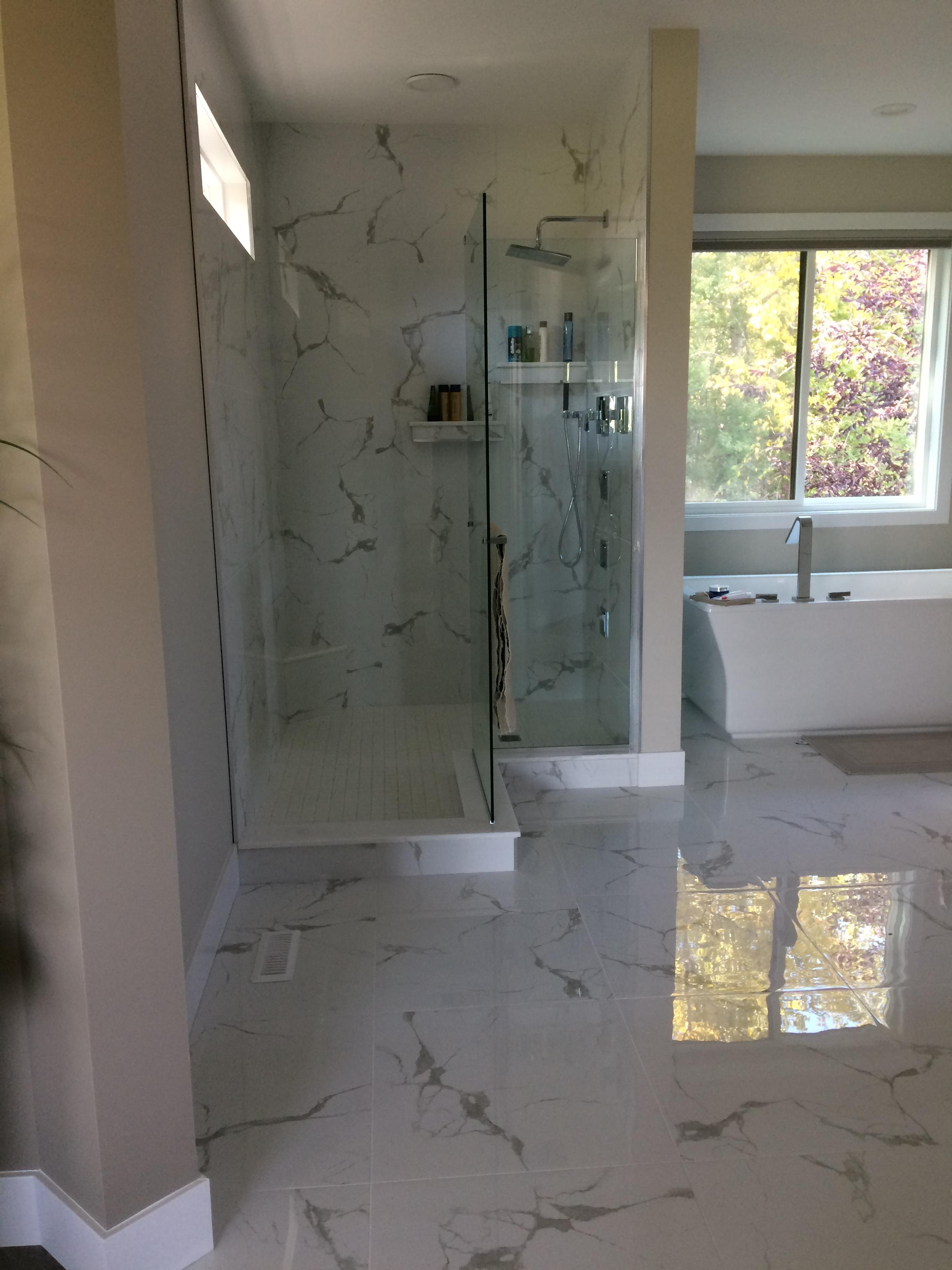 Custom shower L-shape (after)