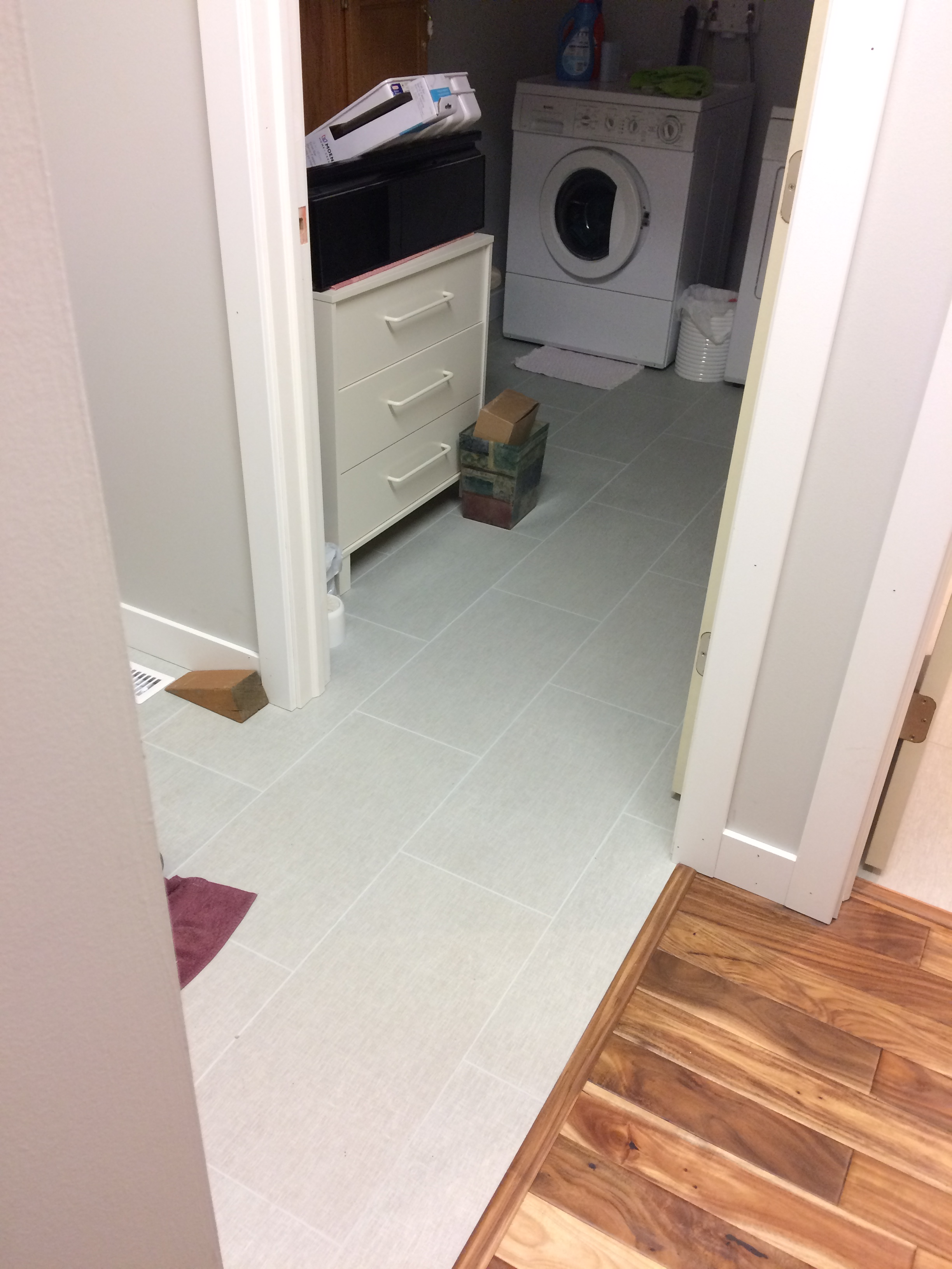 Laundry and back entry floor tiling