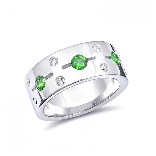 14k White Gold 0.77ct TGW Russian Demantoid Garnet and White Diamond Ring