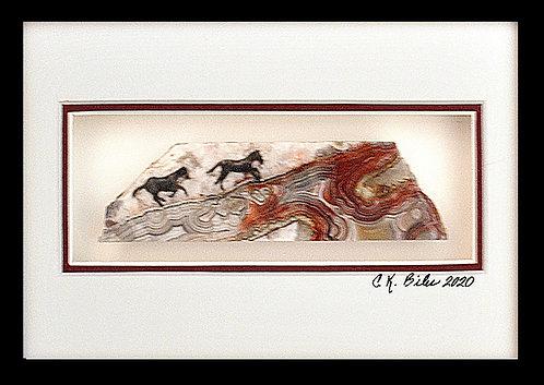 Horses racing uphill on gorgeous gemstone, 5x7 Photogem