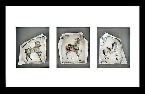 Perfect for a child's room, these handcolored carousel horses on marble.