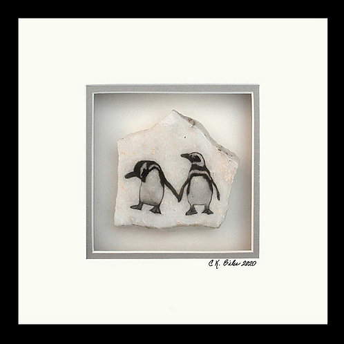 Penguin Friends Photogem, 8x8 Photogem on marble