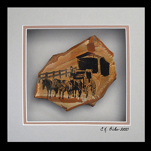 Stagecoach at Covered Bridge, 8x8