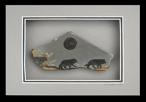 Gray Wolves on an evening hunt under the moonlight, 5x7 gemstone