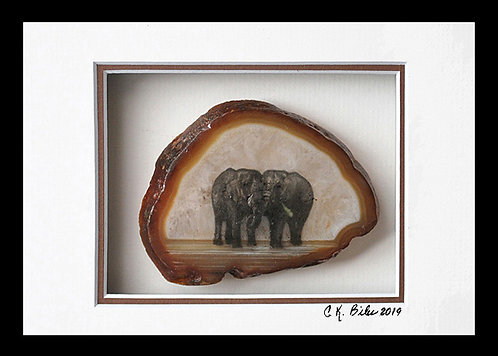 Peace Offering of Frond of Grass,  5x7,  on Brown rimmed agate