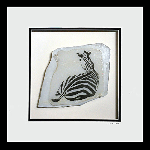 Zebra on Marble, 10x10 Photogem